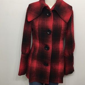 Spoon Black Red Doll Flare Coat Size 36 Euro